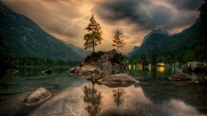A storm approaching over a lake